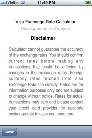 Visa forex rates